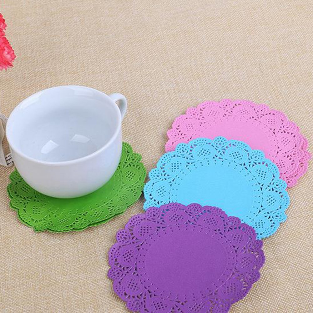 40xnamgiy White Lace Paper Doilies Cake Packaging Disposable Round Doyleys Circle For Weddings Birthday
