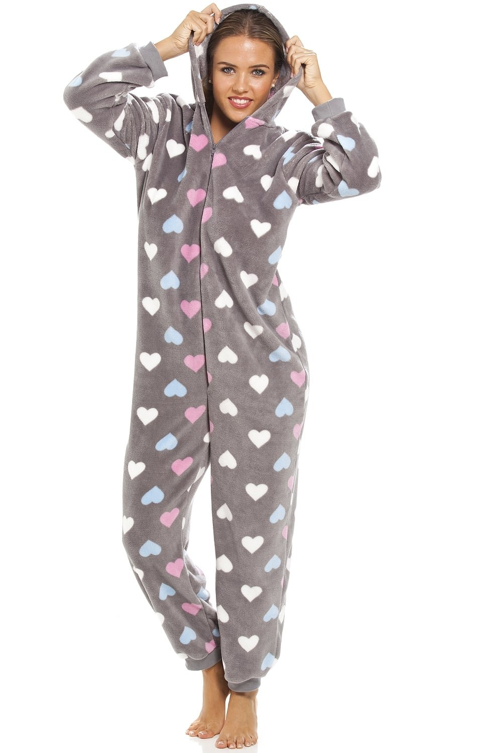 Camille Womens Ladies Multi Coloured Heart Print Supersoft Grey Onesie