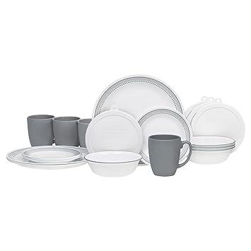 Corelle 20 Piece Livingware Dinnerware Set with Storage Mystic Gray Service for 4  sc 1 st  Amazon.com & Amazon.com | Corelle 20 Piece Livingware Dinnerware Set with ...