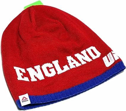 Reebok Hockey Red Beanie Stocking Cap Hat Gray White Letters