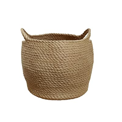 OrganizerPro Jute Storage Baskets Dual Handles Woven Storage Basket Floor Bin Pot Plant Cover Basket Belly Baskets Rope Basket, Nursery Baskets & Baby Room Baskets, Planter Basket: Home & Kitchen