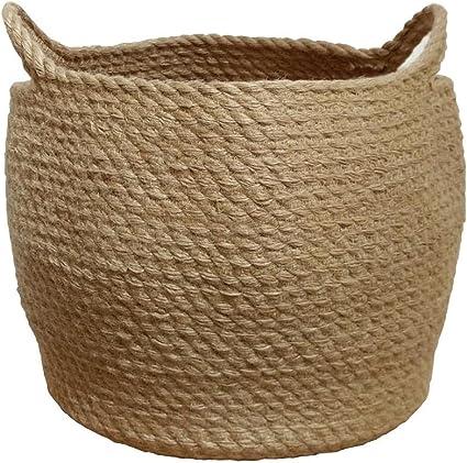 cesta decorativa para ropa cesta de almacenamiento para mantas cestas extra grandes para mantas o lavander/ía Geyecete Cesta de cuerda de algod/ón extragrande con asa de cuero