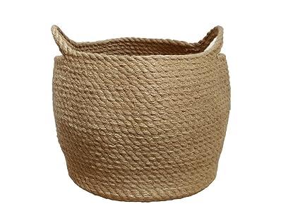 Jute Storage Baskets Dual Handles Storage Bin Basket Gift Baskets Floor Bin Pot Plant Cover Basket  sc 1 st  Amazon.com & Amazon.com: Jute Storage Baskets Dual Handles Storage Bin Basket ...