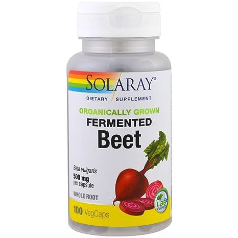 Solaray - Raíz entera de remolacha fermentada cultivada orgánicamente 500 mg. - 100Capsule(s