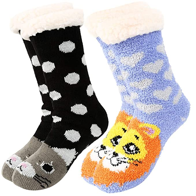 Women Winter Non-slip Floor Socks Cute Animals Super Soft Warm Fuzzy Slipper Socks 2