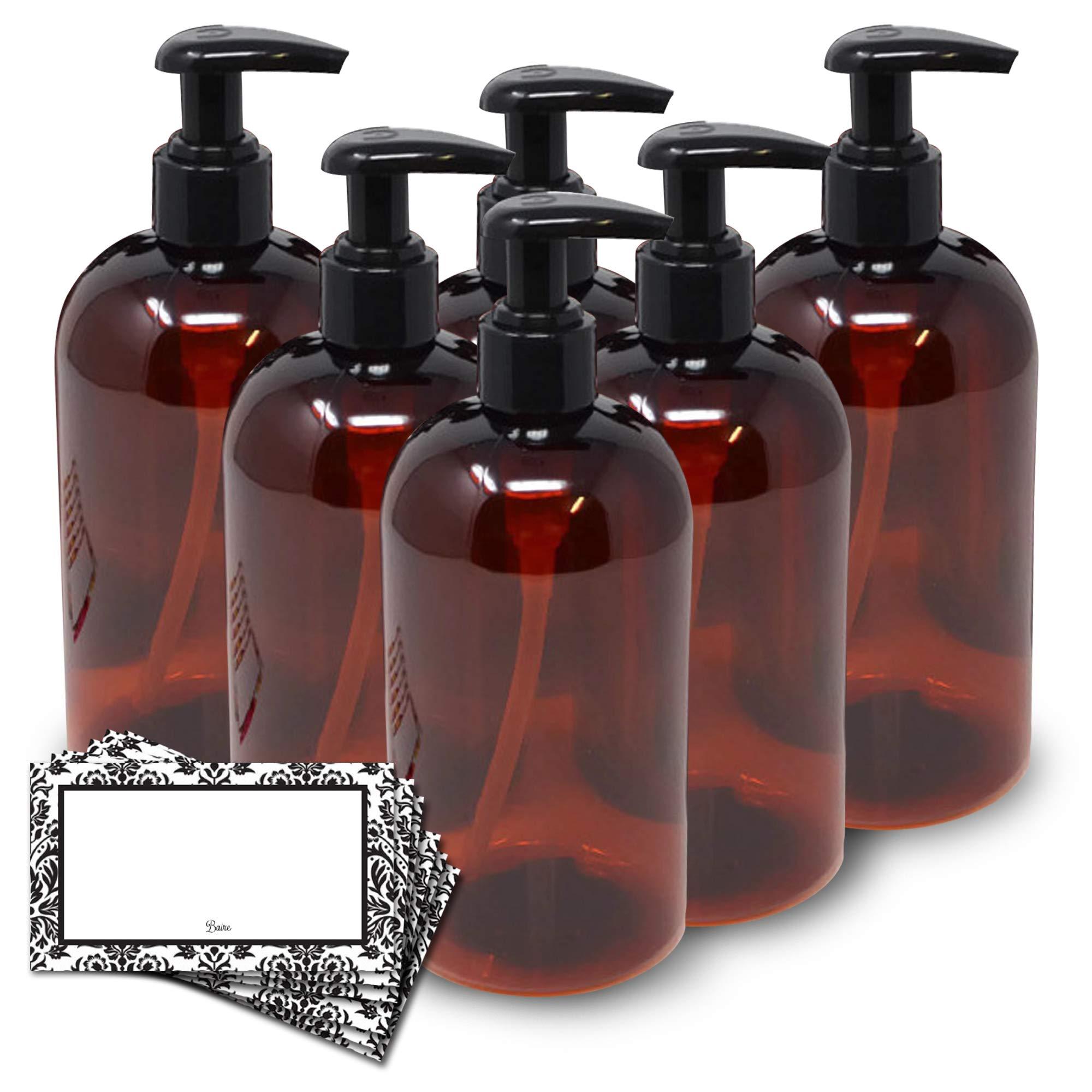 BAIRE BOTTLES - 16 OZ BROWN AMBER PLASTIC REFILLABLE BOTTLE with BLACK LOTION PUMPS - 6 Pack, BONUS 6 DAMASK LABELS - PET, Lightweight, BPA Free - ORGANIZE your Sink and Bath Area by Baire Bottles