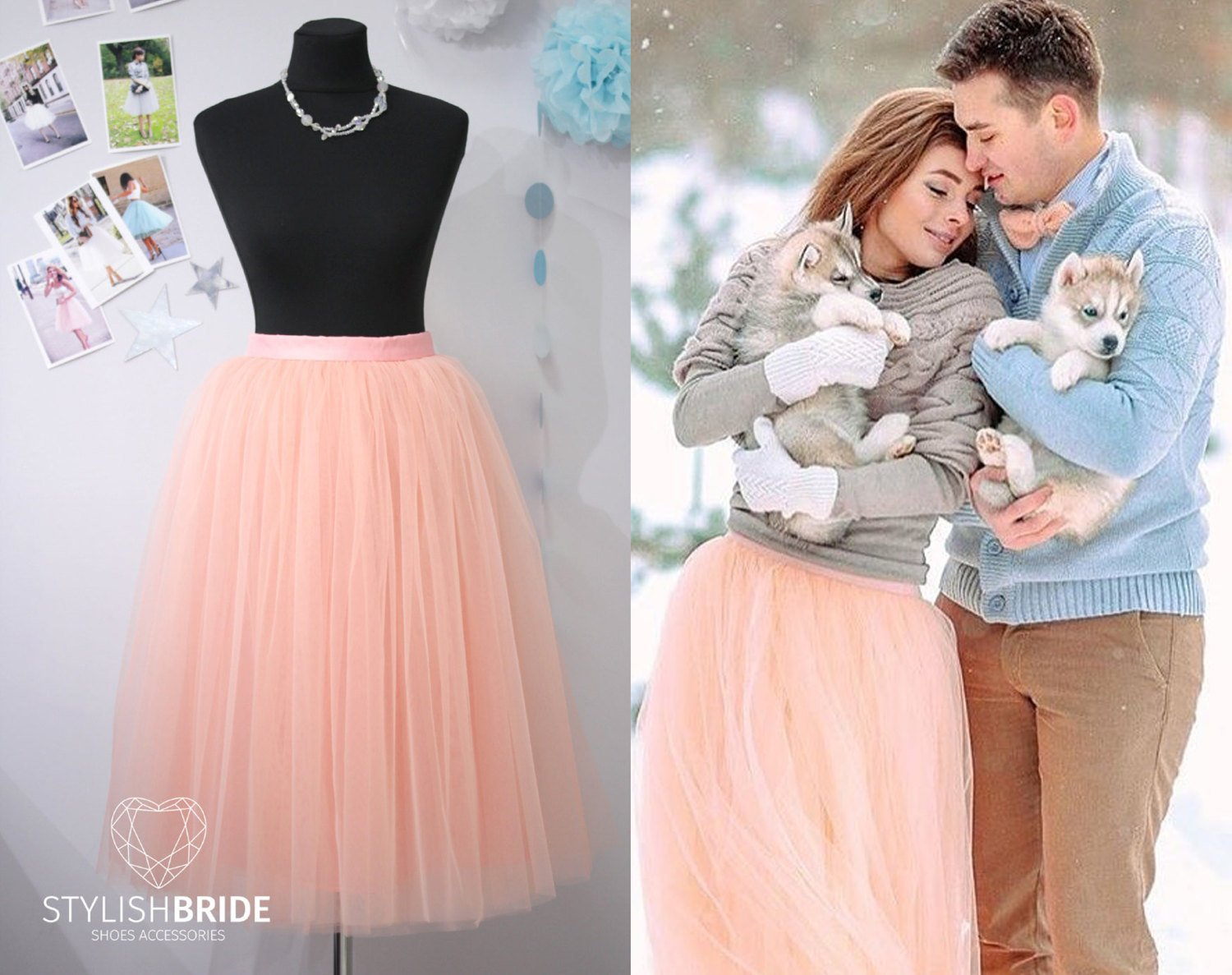 542dfe88c Amazon.com: Soft Peach Tea Length Women's Tutu Skirt, Peach Tulle skirt for  Engagement photos or prom tulle dress: Handmade
