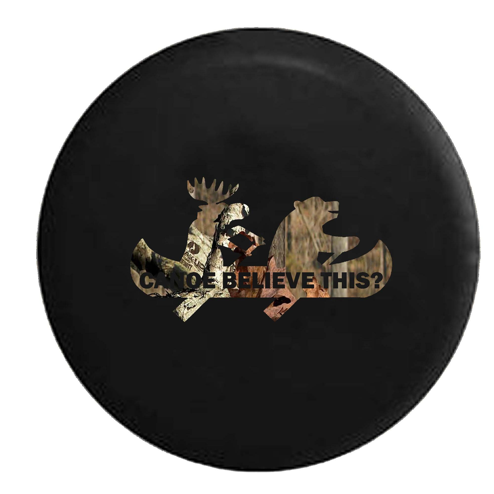 Camo - Moose Bear Canoe Outdoors Funny Camping Jeep Spare Tire Cover Vinyl Black 33 in