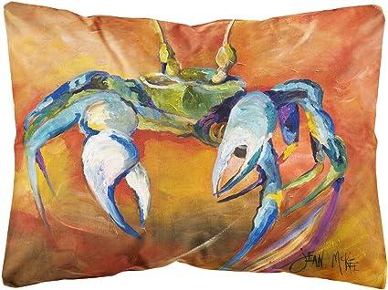 Amazon Com Caroline S Treasures Jmk1110pw1216 Blue Crab Canvas Fabric Decorative Pillow 12h X16w Multicolor Garden Outdoor