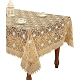 Beige Embroidered Lace Floral Tablecloths Square 80 Inch