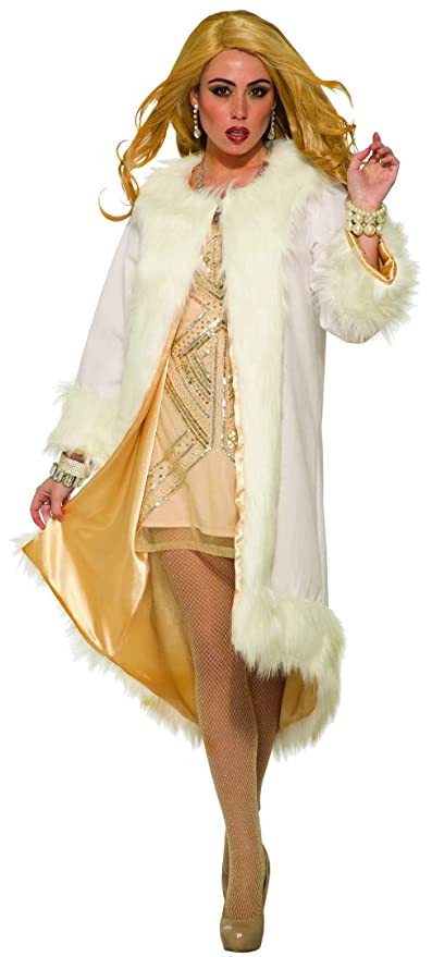 1930s Costumes- Bride of Frankenstein, Betty Boop, Olive Oyl, Bonnie & Clyde Forum Novelties Inc - Womens Hollywood Faux Fur Coat $34.51 AT vintagedancer.com
