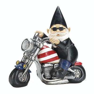 Tolbsplace Gnomes Garden Decor Harley Davidson Motorcycle Lovers Gift Patriotic Biker GNOME Solar Yard Statue : Garden & Outdoor