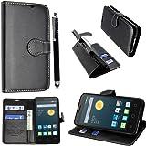 Kamal Star® Alcatel Pixi 3.5'' PU Leather Wallet Flip Case Cover+Stylus (Pixi 3 3.5'' inch, Black Book)