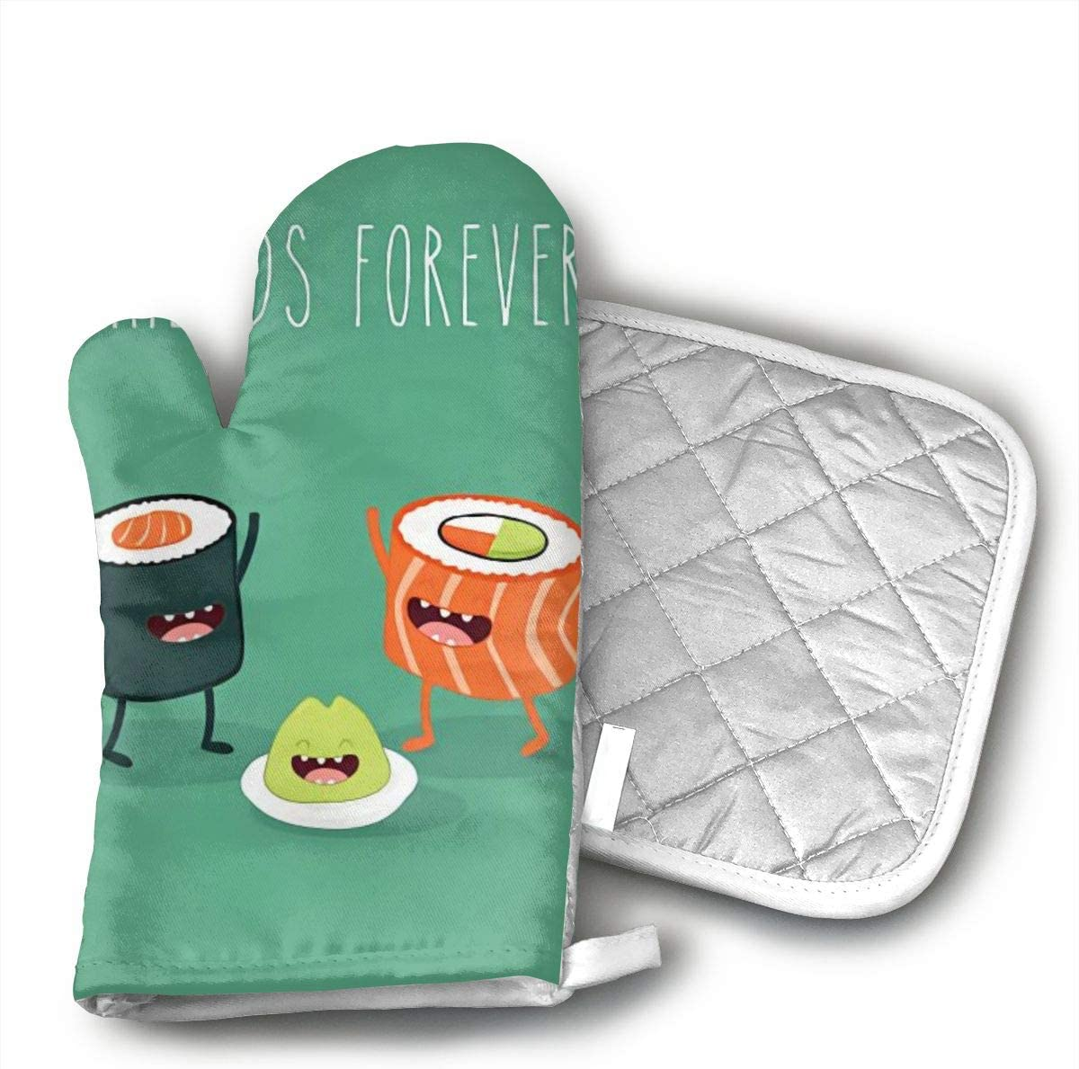 MEILVWEN Sushi Clip Art Oven Mitt and Pot Holder Set,Heat Resistant for Cooking and Baking Kitchen Gift