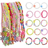 obmwang 30Pcs Princess Necklace Bracelet Set, Little Girls Costume Jewelry Play Jewelry for Kids Dress Up Pretend Play Party Favors