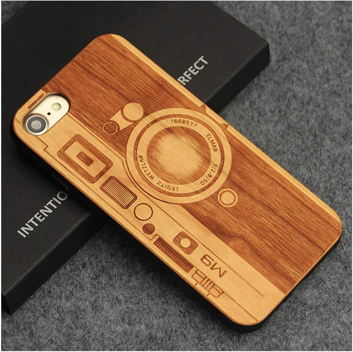 I8 TPU Cherry Wood Case For iPhone 8 Plus Retro Natural Wood Case