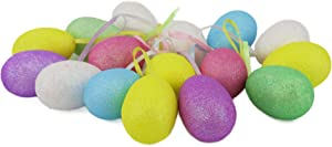 WEWILL Multicolored Glittering Foam Easter Egg Decoration Hanging Ornament Easter Wreath Decoration, 2 1/2-Inch Pack 8
