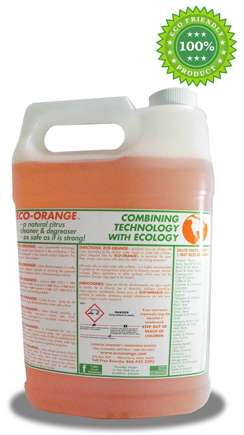 Eco Orange 1 Gallon Super Concentrate. Strongest All-Natural, All-Purpose Orange Citrus Cleaner. Makes up to 16 GALLONS after dilution. Non-Toxic, Allergy-Free, Eco-Friendly. Safe for Family, Pets. by Eco Orange (Image #4)