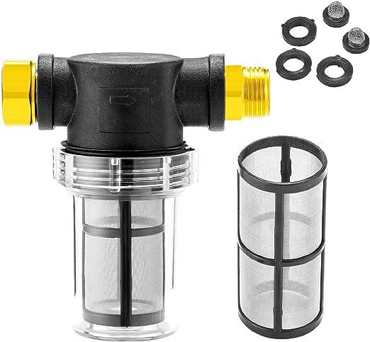 Nrpfell Accesorios de Filtro Entrada de Manguera de JardíN para Lavadora de Agua Exterior(Pantalla de Malla 100)+Filtro de Malla Adicional 100,3 Juntas TóRicas y 2 Arandelas de Manguera: Amazon.es: Hogar