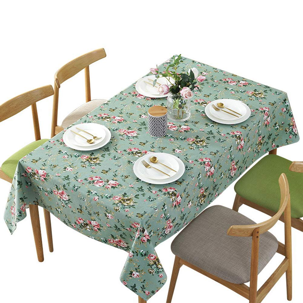 Antuen Square 100/% Cotton Tablecloth Cover Flower Printed Table Cover Tablecloth for Dinner Kitchen Green 36x36 Inch