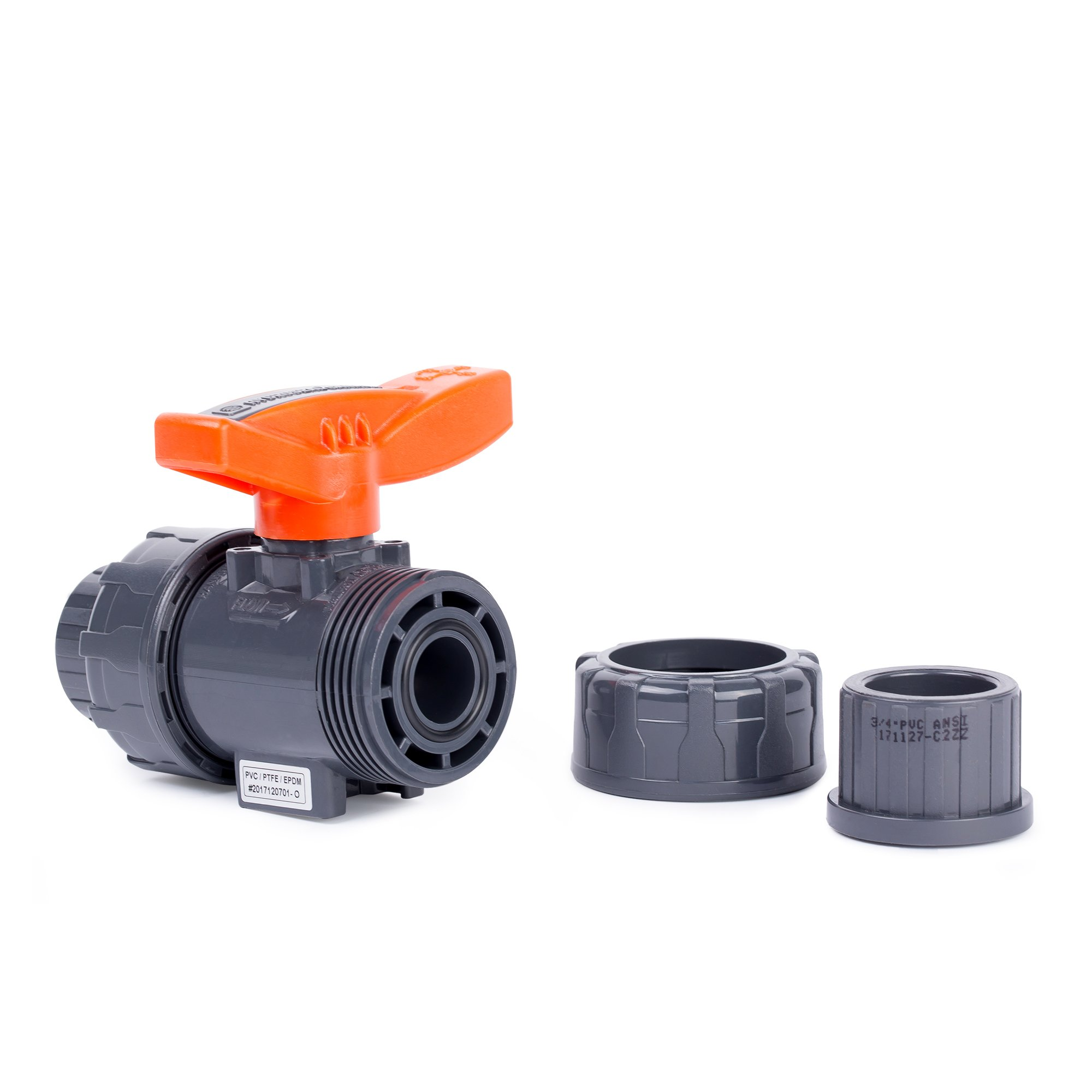 HYDROSEAL Kaplan 3/4'' PVC True Union Ball Valve with Full Port, ASTM F1970, EPDM O-Rings and Reversible PTFE Seats, Rated at 200 PSI @73F, Gray, 3/4 inch Socket (3/4'') by Hydroseal (Image #5)