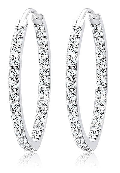 098cc575d23af Elli Women's 925 Sterling Silver Xilion Cut Swarovski Crystal Hoop Earrings