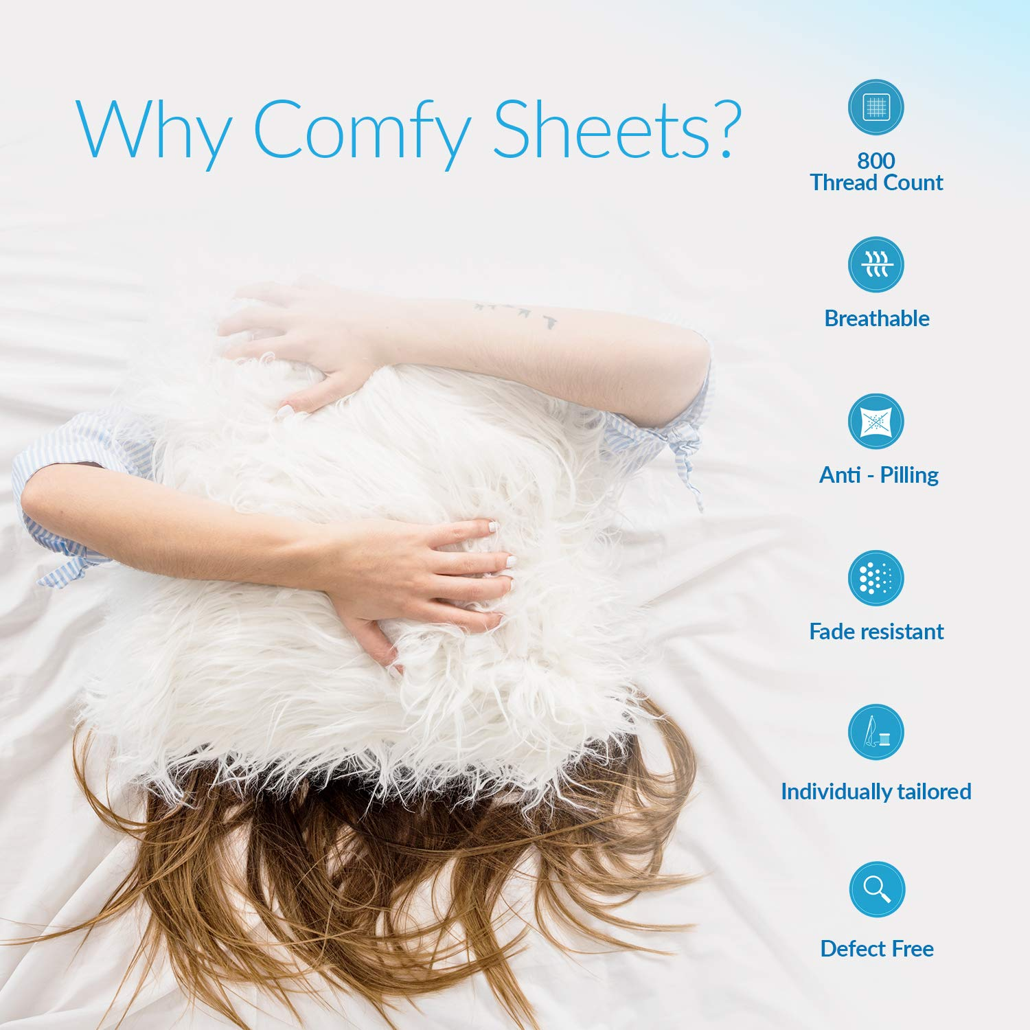 800 Thread Count 100% Pure Egyptian Cotton - Sateen Weave Premium Bed Sheets, 4- Piece White Queen- Size Luxury Sheet Set, Fits mattresses Upto 18'' deep Pocket by   Comfy Sheets (Image #5)
