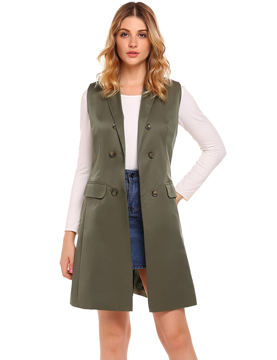 Zeagoo Women's Sleeveless Double-Breasted Long Vest Blazer With 2 Pocket