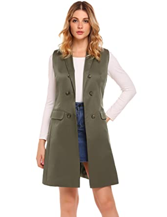 6d30e18cd0 Zeagoo Women s Sleeveless Double-Breasted Long Vest Blazer with 2 Pocket  Army Green S