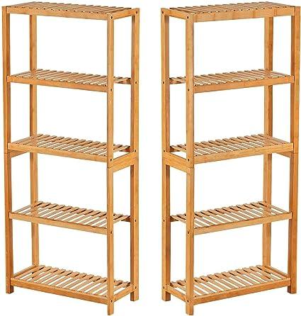2 x Estante de bambú Estantería de bambú de 5 niveles Estante para el baño estantería de bambú estante de cocina
