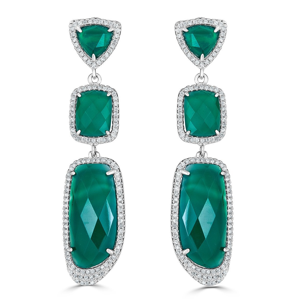 Platinum Plated Sterling Silver Green Agate Dangle Earrings