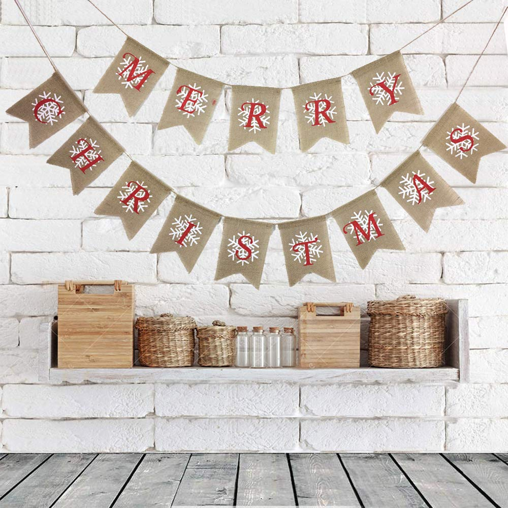 LOLOAJOY Burlap Snowflake MERRY CHRISTMAS Bunting Banner Flags for Christmas Party