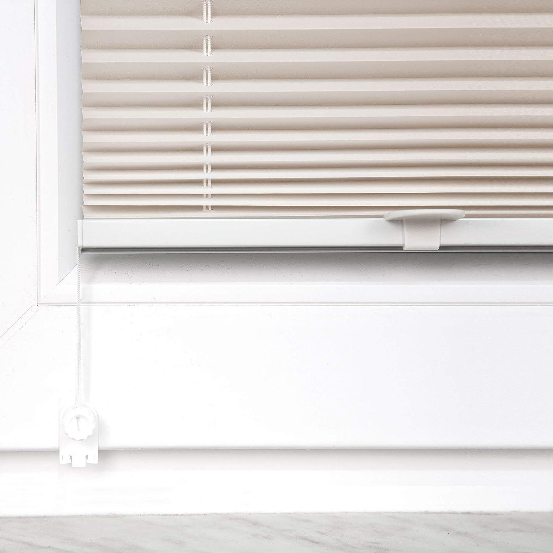 Victoria M 35 x 100 cm aus Polyesterstoff ohne Bohren beige Praktica Plissee Faltrollo Plisseerollo mit Klemmtr/ägern f/ür Fensterfl/ügel 15-22 mm Aluminiumschienen