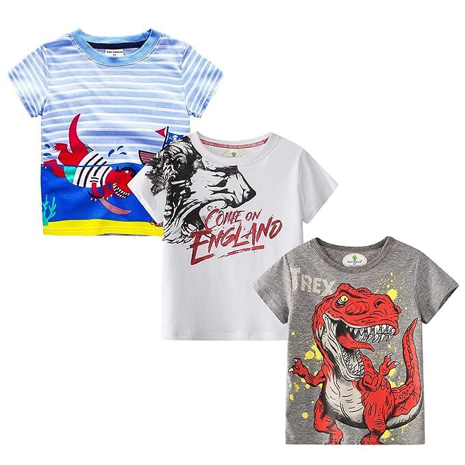 MSSMART Toddler Boys T-Shirt Kids Cotton Top 3-Pack Size 18M-7T