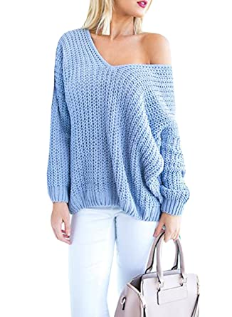 Womens Sweaters Oversized V Neck Long Sleeve Off The Shoulder Cable Knit  Pullover Sweater Tops 972af513c