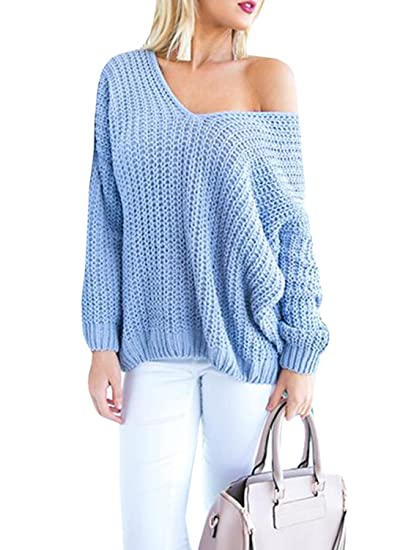 Womens Sweaters Oversized V Neck Long Sleeve Off The Shoulder Cable