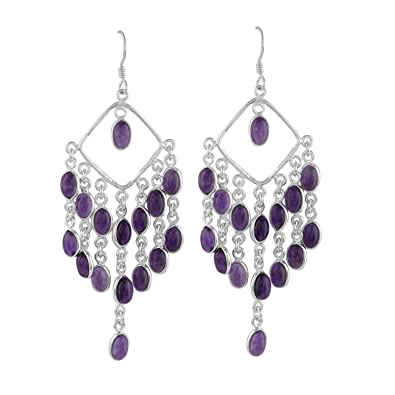 square earrings stone rectangular amethyst