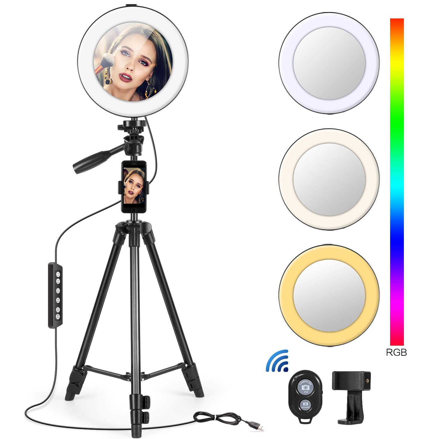 8'' Ring Light with Tripod & 2 Phone Holder, RGB 10 Colors Light for Video Recorder/Makeup/Live Stream/Photography Lights, LED Selfie Ring Light with Detachable Mirror and Remote Control by Kitdine