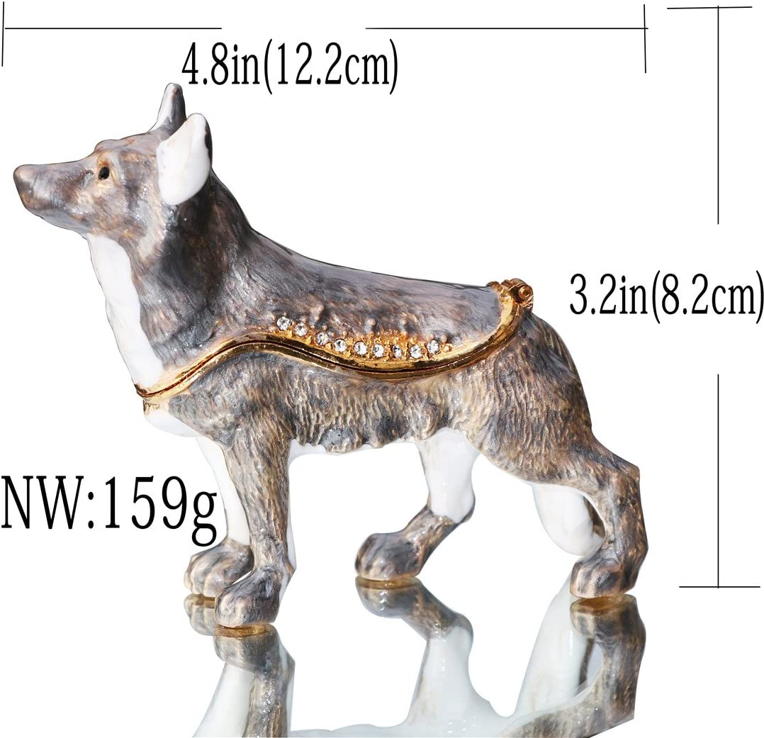 Wolf Animal Trinket Box with Hinged Lid Bejeweled Crystals Ring Jewelry Storage