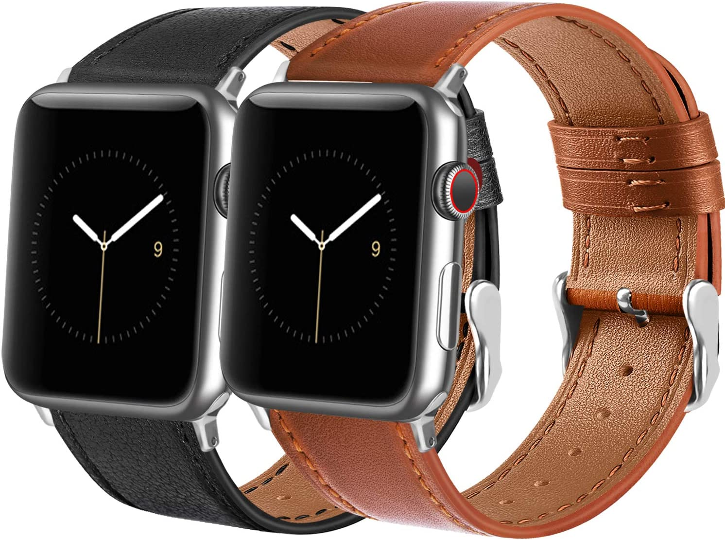 Tobfit Leather Bands Compatible with Apple Watch Band 38mm 40mm 42mm 44mm Women Men, Top Grain Leather Wristband, Black&Brown, 42mm/44mm