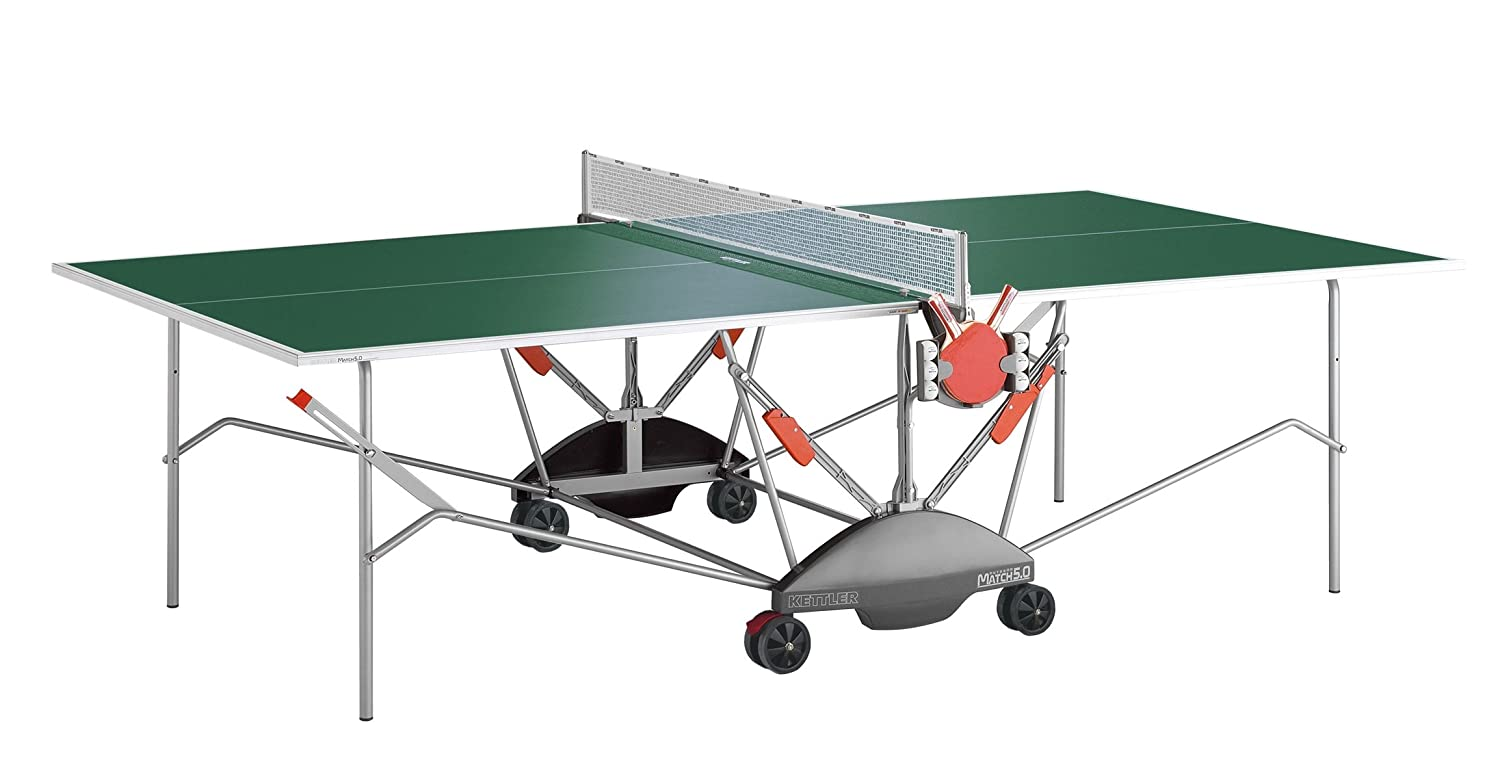 Kettler Match 5.0 Indoor/Outdoor Table Tennis Table, Green Top