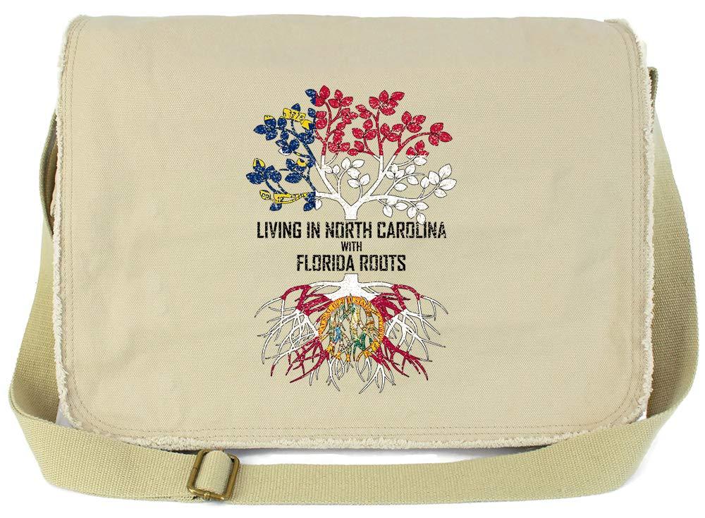 Tenacitee Living In South Carolina with Florida Roots Grey Brushed Canvas Messenger Bag