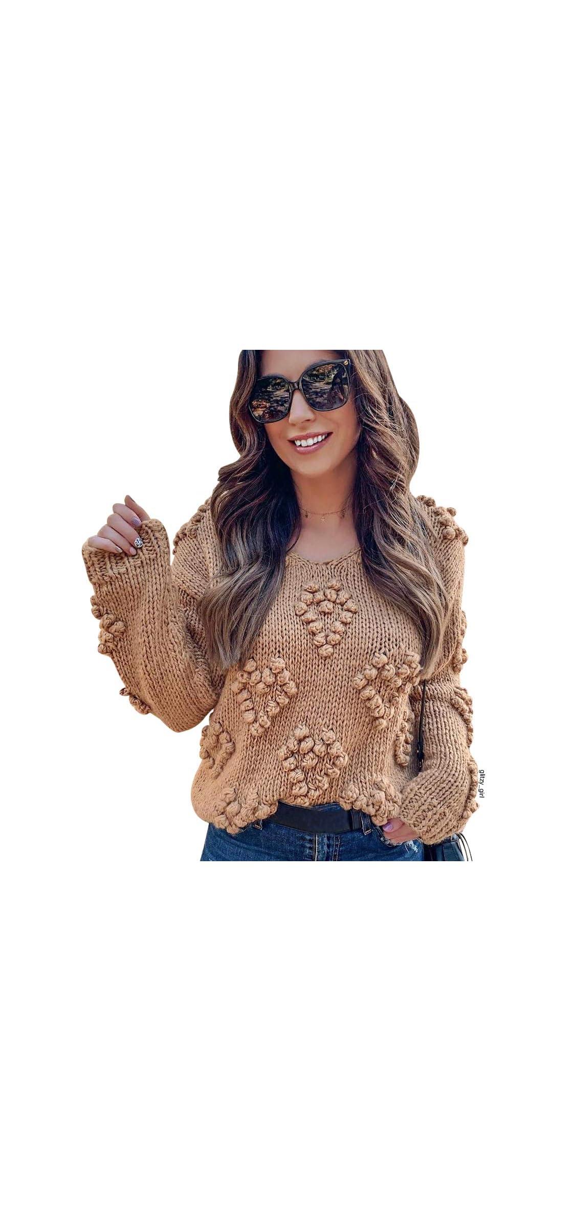 Women's Soft Heart Shape Balls Hand Knit V-neck Sweater