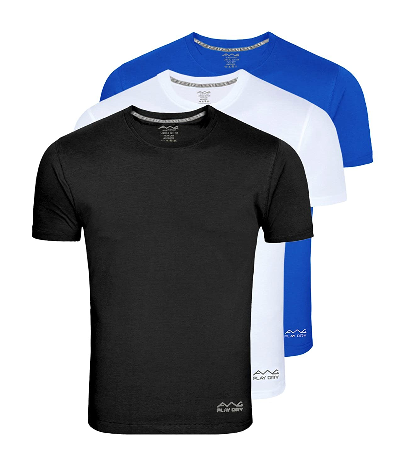cd9ceabf150 AWG - All Weather Gear Men s Polyester T-Shirt (Pack Of 3)  (Awgdft-Bl-Wh-Rb)  Amazon.in  Clothing   Accessories