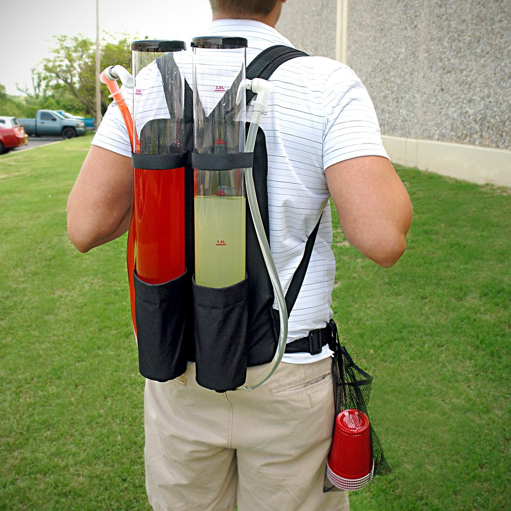 Double Tank Backpack Beverage Dispenser, ideal for outdoor gathering.