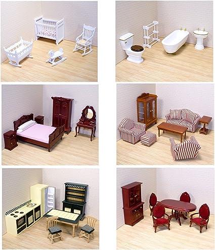 Amazon Com Melissa Doug Deluxe Doll House Furniture Bundle Living Room Set Kitchen Bedroom Bathroom Nursery And Dining Room Toys Games