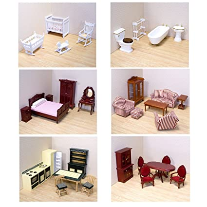Melissa Doug Deluxe Doll House Furniture Bundle Living Room Set Kitchen Bedroom Bathroom Nursery And Dining Room