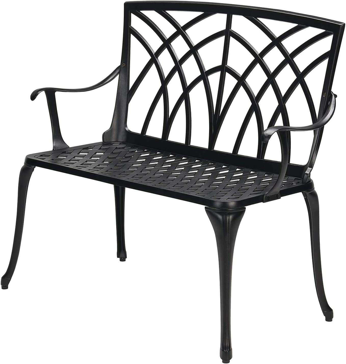 "Laurel Canyon 38"" Outdoor Patio Bench, Cast Aluminum Construction Furniture Chair 2-Person Seating for Porch Backyard Garden Pool Deck, Black"