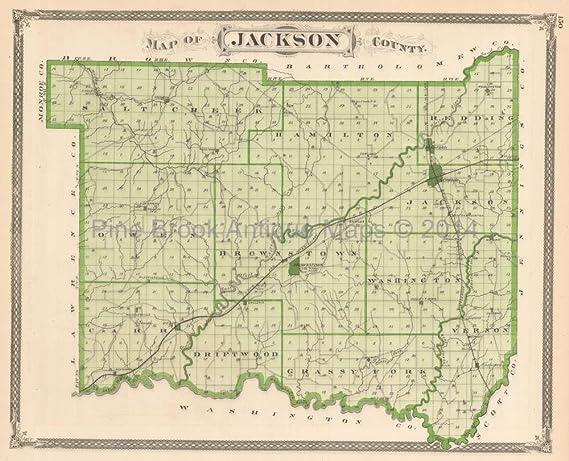 Jackson County North Vernon Indiana Antique Map Baskin 1876 Original