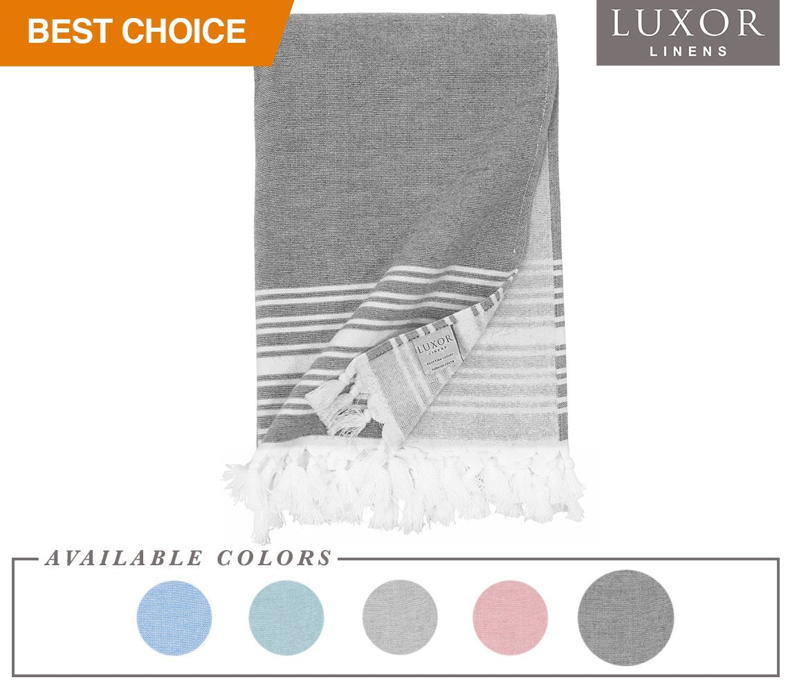 Luxor Linens - Super Soft Luxury Hotel Quality 100% Cotton Peshtemal Towel - Imani Collection- 1 PC, Charcoal - 35'' X 70''
